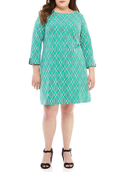 Plus Size 3/4 Split Sleeve Print Dress