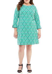 Crown & Ivy™ Plus Size 3/4 Split Sleeve Print Dress