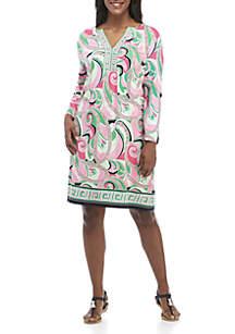 db4d56405b39d ... Crown   Ivy™ Plus Size 3 4 Split Sleeve Border Print Dress