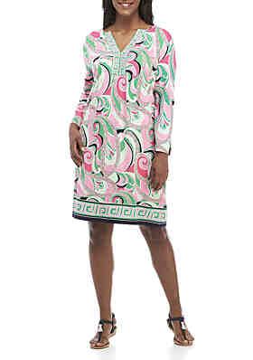 0458dd1037a6 Crown   Ivy™ Plus Size 3 4 Split Sleeve Border Print Dress ...