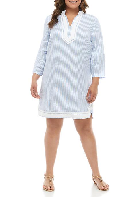 Plus Size 3/4 Sleeve Kurta Dress