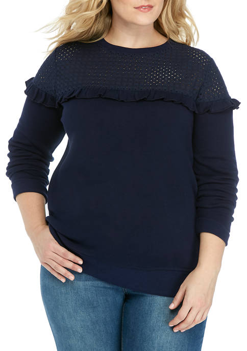Crown & Ivy™ Plus Size Eyelet Yoke Pullover