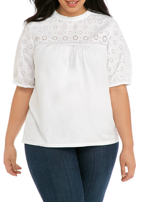Crown & Ivy™ Plus Size Eyelet Knit Top