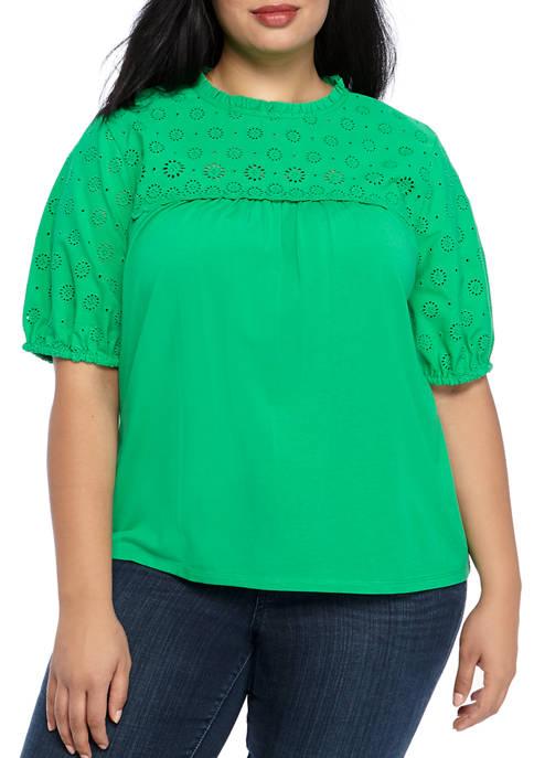 Crown & Ivy™ Plus Size Eyelet Knit Top