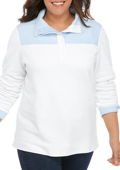Crown & Ivy™ Plus Size Long Sleeve Button
