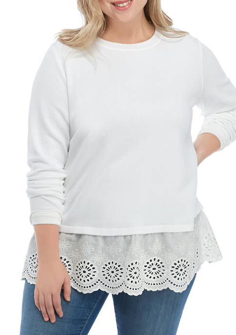 Crown & Ivy™ Plus Size Long Sleeve Eyelet