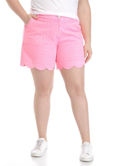 Plus Size Shelby Scalloped Hem Shorts