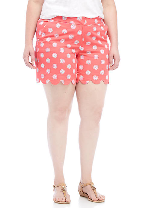 Crown & Ivy™ Plus Size Print Scallop Shorts