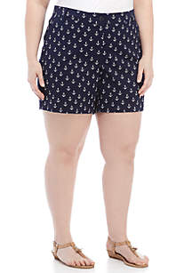 Plus Size 5 in Print Shorts