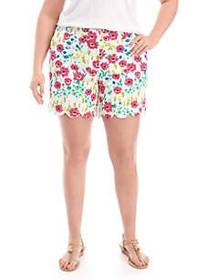Crown & Ivy™ Plus Size Shelby Scalloped Hem Shorts