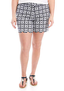 Crown & Ivy™ Plus Size Printed Scallop Shorts