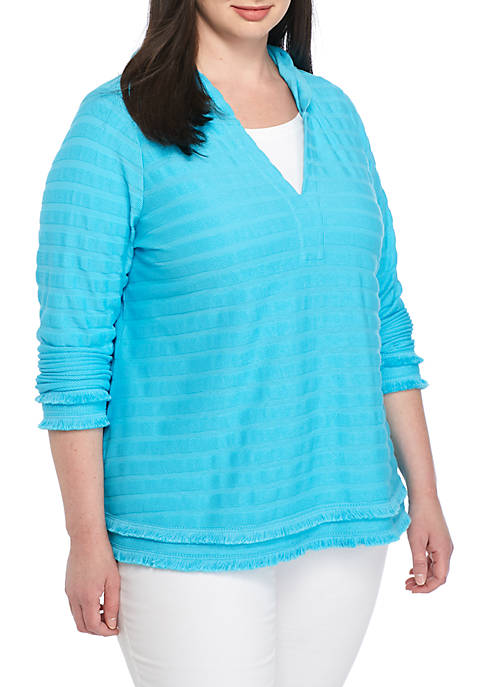 Crown & Ivy™ Plus Size Textured Fringe Knit