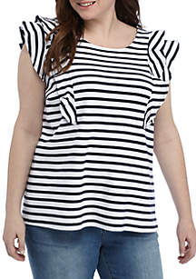 Plus Size Ruffled Sleeve Striped Top