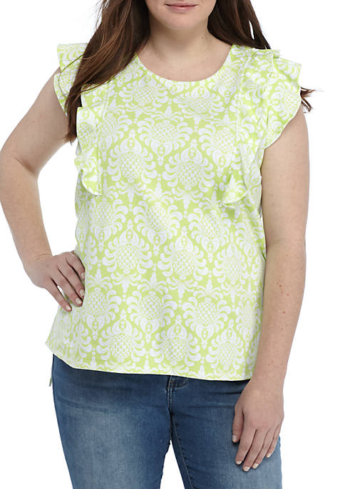 Crown & Ivy™ Plus Size Ruffle Sleeve Printed