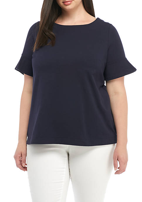 Crown & Ivy™ Plus Size Short sleeve Flounce