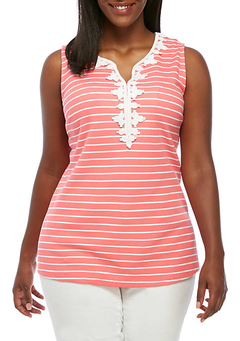 Crown & Ivy™ Plus Size Sleeveless Rope Trim