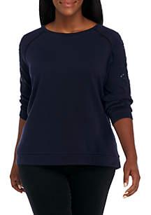 Plus Size Long Sleeve Embellished Solid Sweatshirt