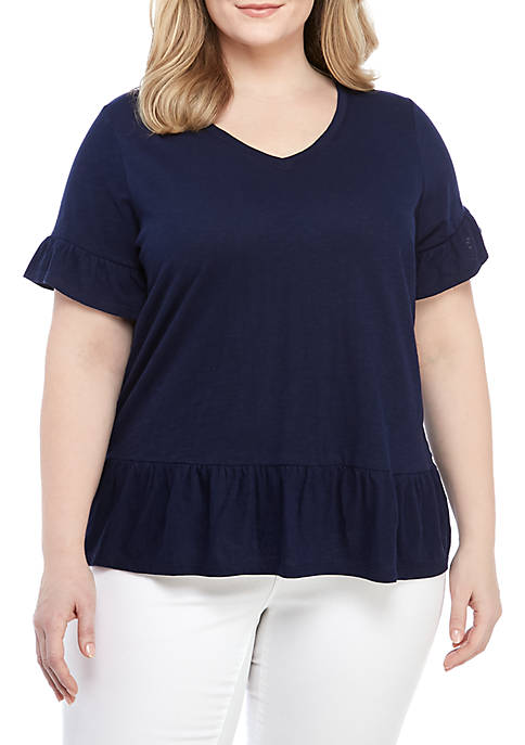 Crown & Ivy™ Plus Size Short Sleeve Ruffle