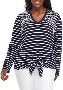 Plus Size Yarn Dye Tie Front Pullover