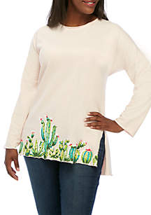 Plus Size Rawed Edge Printed Top