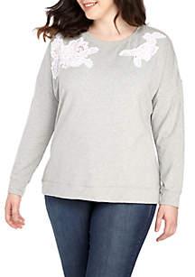 Plus Size Long Sleeve Lace Shoulder Sweatshirt
