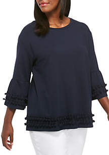Plus Size 3/4 Sleeve Solid Knit Top
