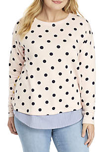 Plus Size Long Sleeve 2Fer Side Button Top