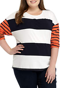 Plus Size Boat Neck Print Top