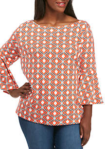 Plus Size Long Bell Sleeve Print Top