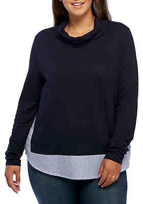 214ec49ab4c6e Crown   Ivy™ Plus Size Long Sleeve 2Fer Cowl Neck Top ...