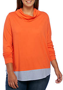 Plus Size Long Sleeve 2Fer Cowl Neck Top