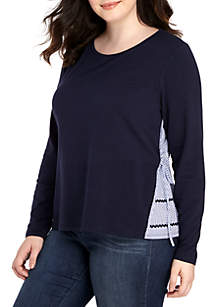 Plus Size Long Sleeve 2fer Sweatshirt