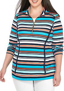 Plus Size Long Sleeve Zip Mock Neck Sweatshirt