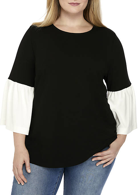 Plus Size 3/4 Bell Sleeve Top