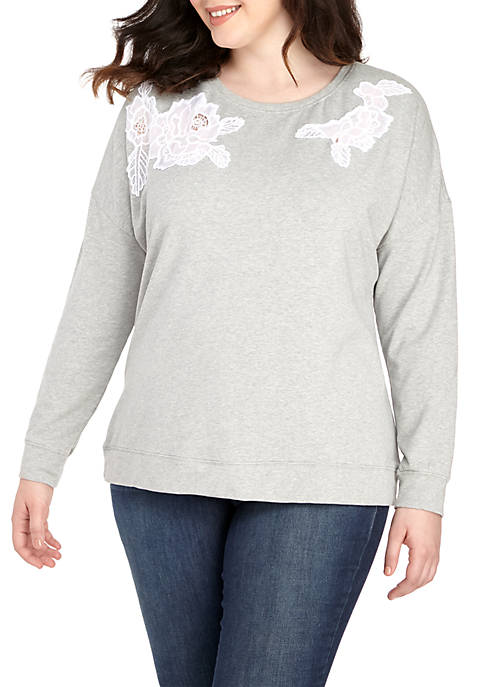 Crown & Ivy™ Plus Size Long Sleeve Embroidery