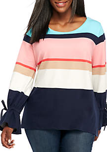 Plus Size Long Tied Cuff Sleeve Print Top