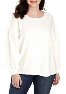 Plus Size Ruffle Long Sleeve Sweatshirt