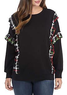 Plus Size Long Sleeve Ruffle Sweatshirt