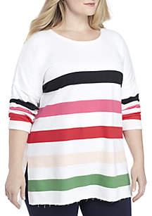 a8b71d36ec7 ... Crown   Ivy™ Plus Size 3 4 Sleeve Raw Edge Sweater