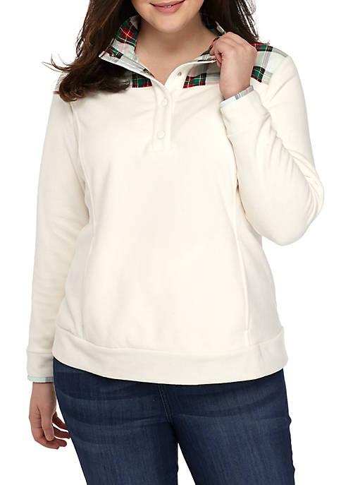 Plus Size Long Sleeve Fleece Top