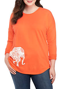 Plus Size Long Sleeve Core Sweeper Print Top