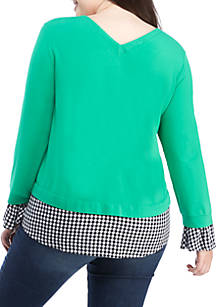7f6080eb226fd ... Crown   Ivy™ Plus Size Long Sleeve 2Fer Top