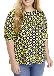 Crown & Ivy™ Plus Size Button Back Top