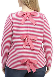 Crown & Ivy™ Plus Size Long Sleeve Contrast Stripe Bow Back Top