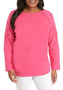 2638cccde39 ... Crown   Ivy™ Plus Size Long Sleeve Crew Neck Embroidered Sleeve Top