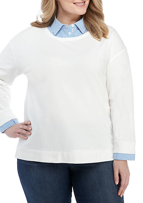 Crown & Ivy™ Plus Size Long Sleeve 2Fer