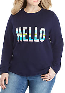 Plus Size Long Sleeve Printed Sweatshirt