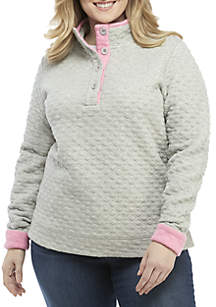 Crown & Ivy™ Plus Size Long Sleeve Button Up Sweatshirt