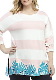Crown & Ivy™ Plus Size 3/4 Sleeve Raw Edge Sweeper Top