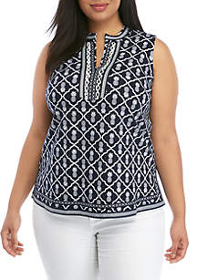 2530c43f46efe ... Crown   Ivy™ Plus Size Sleeveless Crochet Kurta Top